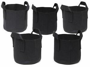 247Garden 5-Pack 1 Gallon Grow Bags/Aeration Fabric Pots W/Handles (Black)