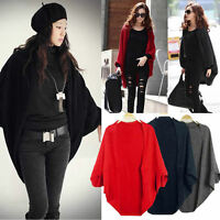 Lady Knitted Cardigan Batwing Outwear Casual Loose Sweater Coat Tops Knitwear