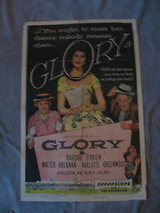Glory 1956 Walter Brennan Margaret O'Brien Horses One Sheet Movie Poster GVG C5