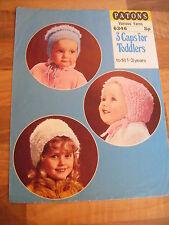 Vintage Patons Knitting pattern-3 Gorras Para Niños Pequeños 1-3yrs