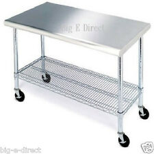 """Rolling Stainless Steel Top Work Table Kitchen Table Cart Workbench Shelving 49"""""""