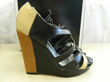 Baby Phat Size 8 JUNO Black Tan Wedge Sandals New Womens Shoes