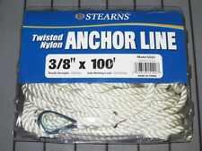 "NEW 3/8"" x 100' Anchor Line w/ Thimble 3-Strand Twisted Nylon Rope Boat Marine"