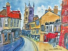 Authentic Original Watercolour Painting Cromer Street View North Norfolk