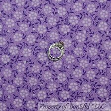 BonEful Fabric Cotton Quilt Purple Light Pastel Small Flower Leaf Tone Dot SCRAP