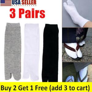 1/3Pairs Nylon Japanese Kimono Flip Flop Sandal Split Toe Tabi Ninja Soft Socks