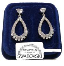 Orecchini Goccia grande larga donna pl. oro Bianco 18K cristalli swarovski SW/30