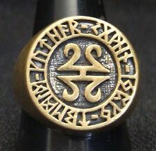 Bronze Celtic Runes Biker Ring Custom Size Runic alphabet Old Norse Viking R-83b