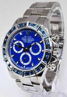 Rolex Daytona Steel Chronograph Watch 18k Gold Sapphire Bezel + Box  P 116520