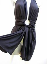 Abito copricostume nero sarong/cover up/wrap Multi Way convertible beach dress