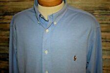 RALPH LAUREN KNIT OXFORD Men's L/S Button Down Shirt Blue Size 2XLT TALL
