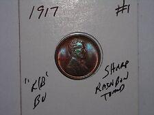 wheat penny 1917 BLUE,PURPLE,RED MONSTER RAINBOW TONED BU 1917-P UNC LOT #1