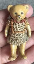 ANTIQUE  ALL BISQUE TEDDY BEAR  BOY HERTWIG GERMAN ORIGINAL ROMPER MINIATURE 2""