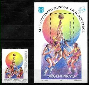 ARGENTINA 1990 SPORTS BASKETBALL WORLD CUP YV 1726 BL 44 Mi 2032 BL 42 MNH