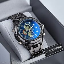 NEW BLUE SPORTS ANTHONY JAMES DIGITAL ANALOG MENS WRIST WATCH STEEL BAND SRP£440