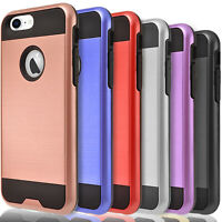 For iPhone 7 / 8 / 8 Plus Case, Dual Layer Protective+ Tempered Glass Protector