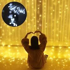 6x3M 600 LED Light Curtain String Fairy Lights Patio Garden Xmas Wedding Party