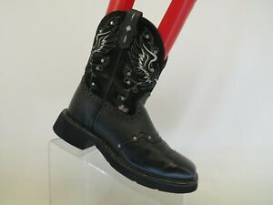 Justin Gypsy Black Suede Leather Stockman Studded Cowboy Boots Womens Size 6.5 B