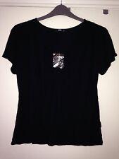 Ladies Top Size 14. Eu 42. Black With Beads & Sequins. Evening Top