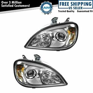 Headlight Headlamp Chrome Projector Pair Set for 96-17 Freightliner Columbia