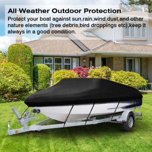 Waterproof Heavy Duty Boat Cover For V-Hull, Tri-Hull, Runabout Boat 11FT - 22FT