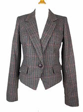Tweed Check Button Waist Length Coats & Jackets for Women