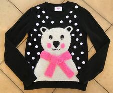 Justice Polar Bear Polka Dot Sweater Size 14 Black & Pink