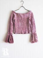 🌹Honey Cinnamon🌹Pink Velour Blouse Top Shirring LARME Hime Lolita Japan-M E047