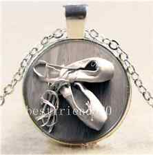 Ballet Dancer Shoes Cabochon Glass Tibet Silver Chain Pendant Necklace