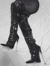 "Bondage 7"" fetish spike thigh high boot BDSM size 14 women 44 Euro. DISCREET"