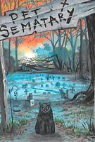 4X6 HALLOWEEN POSTCARD PRINT LE 3/200 RYTA BLACK CAT PET SEMETARY STEPHEN KING