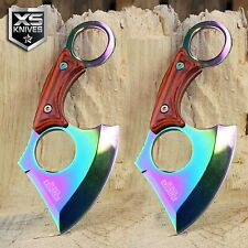 2pc Tactical Set Straight Edge Fixed Blade Cleaver Axe Hunting knife Karambit