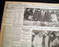 BABE RUTH Shows off New Wife YANKEES Opening Day Home Runs 1929 NYC Newspaper