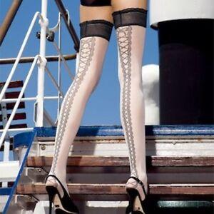 TRASPARENZE Ribbons Autoreggente Holds Up Hosiery Black Pantyhose Size 3/4