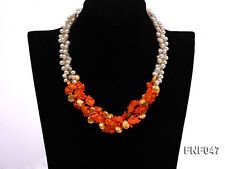 3-strand White Freshwater Pearl Golden Button Pearl Orange Coral Flower Necklace
