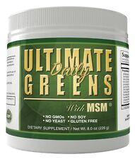 Ultimate Greens MSM  Powder Vegan Friendly Alkalize Body PH Energy Gluten Free