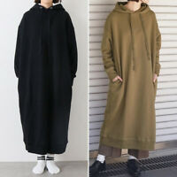 Hiver Femme Chaud Sweat-shirt Robe à capuche Manche Longue Droit Jupe Plus Long