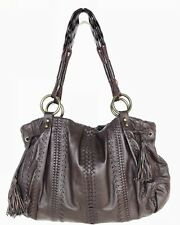 ISABELLA FIORE Woven Whipstitch Handbag Soft Lambskin Leather Tote Bag Brown