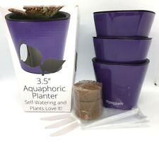 "Aquaphoric Self Watering Plant Pots, 3 Pack Purple, 3.5"" New! Free Shipping!"