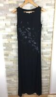 Phase Eight Ladies Size 12 Floral Embellished Black Maxi Dress