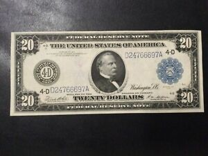 1914 FEDERAL RESERVE PAPER MONEY - 20 DOLLARS LARGE SIZE BANKNOTE!