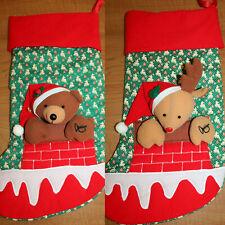 Vintage Fabric Christmas Stocking Set Teddy Bear Reindeer Plush Stuffed Animals