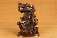 uniquechinese old boxwood handwork dragon statue netsuke collectable