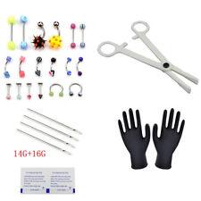 PRO Body Piercing Kit 14G 16G Body Jewelry Scissors Glows Needles Eyebrow ^P