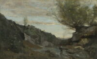 Jean Baptiste Camille Corot A Torrent Of Abruzzo Giclee Canvas Print Paintings
