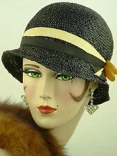 VINTAGE HAT ORIGINAL1920s CLOCHE, V RARE BLACK CROCHETED STRAW w BAKELITE TRIM