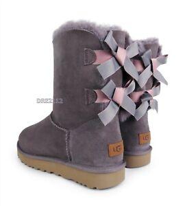 UGG Bailey Bow II Shimmer Stormy Grey Suede Fur Boots Womens Size 9 ~NIB~