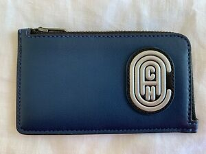 COACH NEW YORK MENS SMALL BLUE SILVER LEATHER L-ZIP AROUND WALLET CARD HOLDER