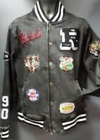 Men's Rebel Minds Jean Jacket with Patches - Black