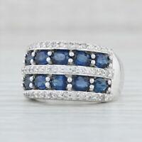 2.95ctw Blue Sapphire Diamond Ring 14k White Gold Size 7 Cocktail